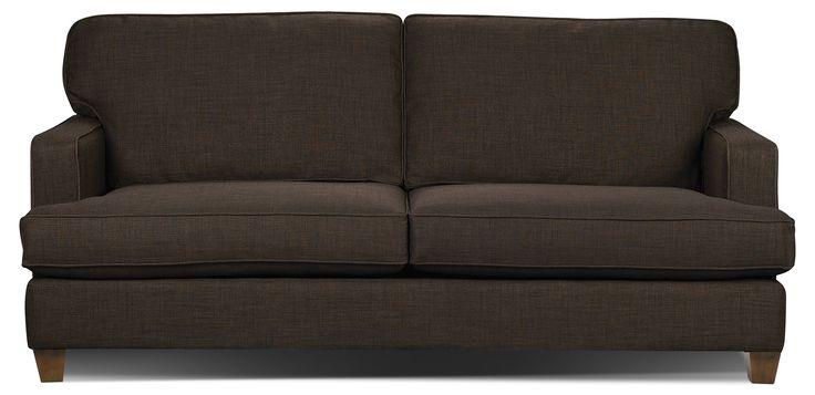 Kent Linen-Look Fabric Sofa - Brown   The Brick