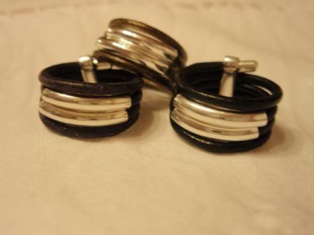 anillo de cuero con plata nº43 anillo cuero,plata artesanal