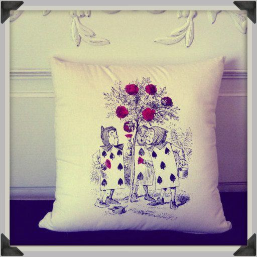 Screenprinted Alice in Wonderland, Roses are Red Cushion handmade alternative Wedding Blacklight retro home decor
