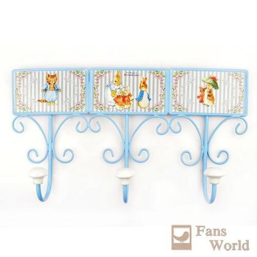 Beatrix-Potter-Peter-Rabbit-Metal-3-Hooks-Wall-Coat-Rack-Hanger-Home-Decor-Blue