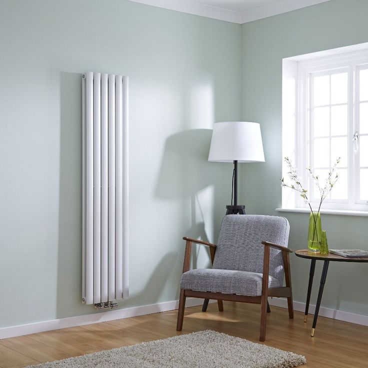 Milano Aruba Flow   White Vertical Double Panel Middle Connection Designer  Radiator 1600mm X 354mm