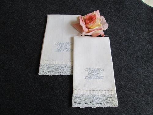Vintage Huck Linen Guest Finger Tip Towels Broderie Anglaise