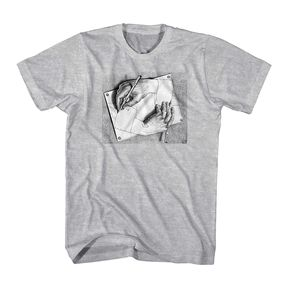 MC Escher Drawing Hands T-shirt is a fun addition to any lover of art and optical illusions. Lots of Escher shirts at ComputerGear.com.