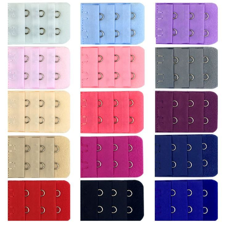 Fashion Women's Colors 2 Hook 3 Rows 1/2 Inch Spacing 1 Inch Wide Narrow Bra Strap Extender