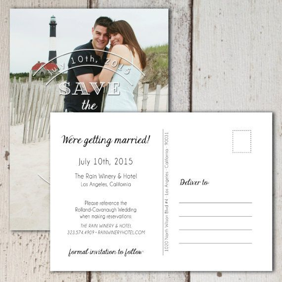 Modern Typography Photo Save the Date - Save money on envelopes and postage by sending Postcards - Show off your engagement photos and let your guests know to Save that Date, because you are getting married!