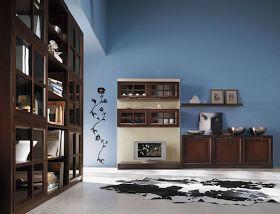 Il marrone dei mobili su una parete blu balena