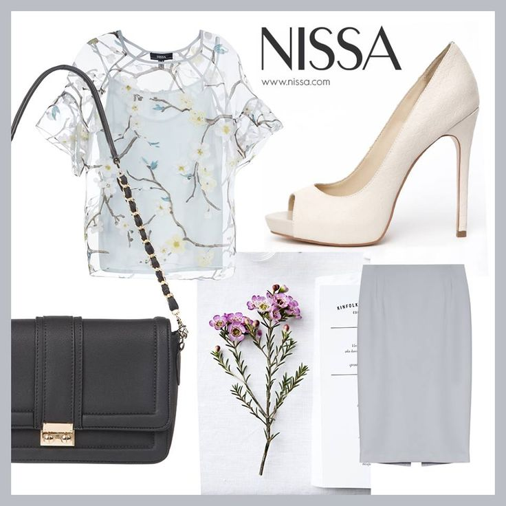 NISSA Outfit #SPRING  www.nissa.com  #nissa #outfit #ss2015 #top #skirt #handbag #shoes #heels #look #style #fashion #inspiration #fashionista