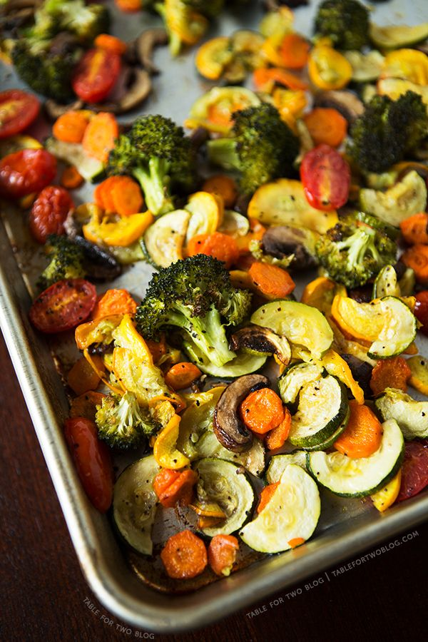 Roasting Vegetables - 1 lg head broccoli florets, 1 lg zucchini, 1 lg yellow squash, 1 c cherry tomatoes, 3 carrots, 1;4 cup olive oil, 2-3 tsp kosher salt, 2 tsp ground black pepper - portobello mushrooms opt
