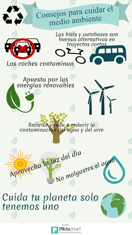Mi infografía sobre consejos para cuidar el medio ambiente realizado con piktochart.com