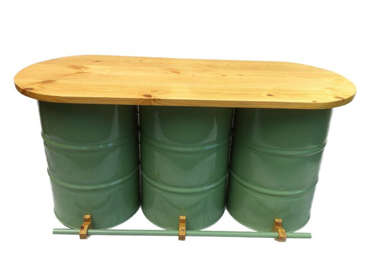 Drum Works Furniture repurposes recycled 55 gallon steel drums into seating, bars, shop cabinets and outdoor seating.  This Full Size Bar will be a cool addition to your house.    –<em>Bill@ChoiceGear</em>