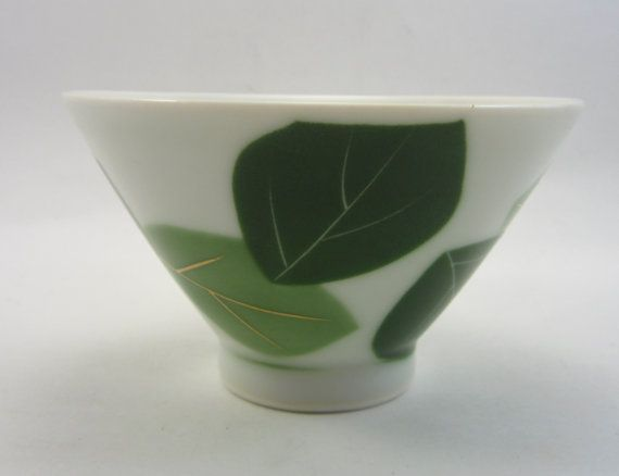 Vintage Japanese Sake Cup - Retro Asian Wine Glass - Green Leaf - Green Leaves
