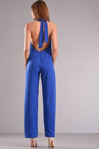 Φόρμα ολόσωμη με ανοιχτή πλάτη και δέσιμο στο λαιμό σε ρουά χρώμα από κρέπ ύφασμα με μικρή ελαστικότητα.    Μεγέθη : Medium  Χρώμα : Μπλε  Σύνθεση : 96%PES 4%SP