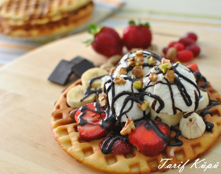 Delicious Waffle with strawberries,bananas,chocolate and ice cream on top [1600x1263] by Sena Inner