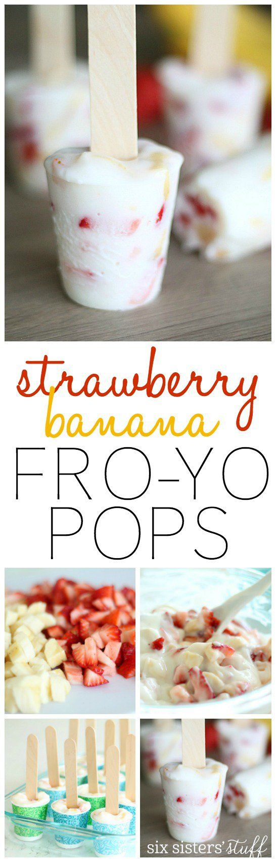 Strawberry Banana Frozen Yogurt Pops from SixSistersStuff.com | Your kids will love this  simple, healthy after school snack!