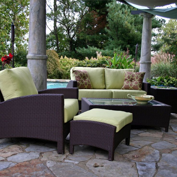 Anacara Atlantis All Weather Wicker Patio Conversation Set   Seats Up To 5    Commercial Patio Furniture At Hayneedle