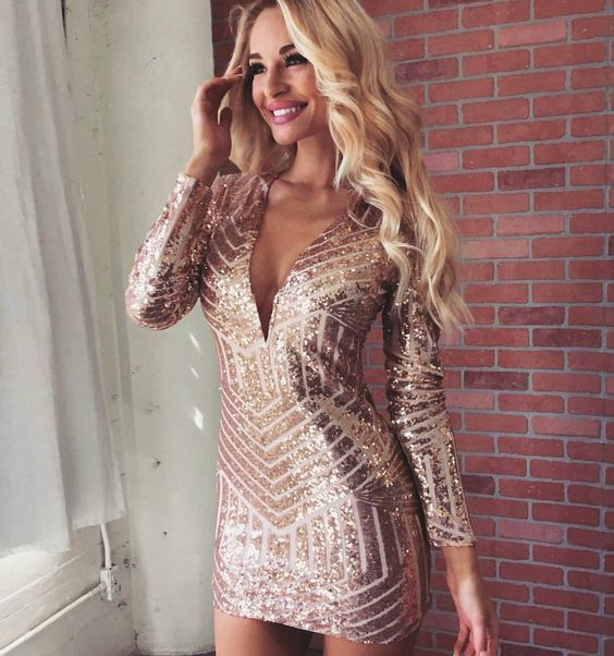 $59.99 Rose Gold Long Sleeve Sequin Mini Dress