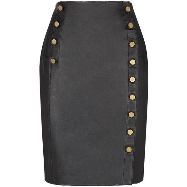 Rebecca Minkoff Jack Leather Pencil Skirt ($625) ❤ liked on Polyvore featuring skirts, high waisted knee length skirt, high waisted skirts, knee length leather skirt, rebecca minkoff and high rise skirts