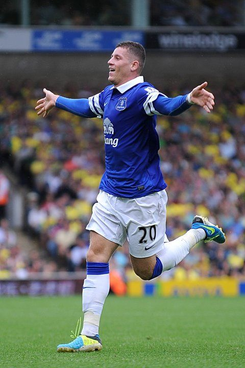 ~ Ross Barkley of Everton FC celebrating his goal against Norwich City ~