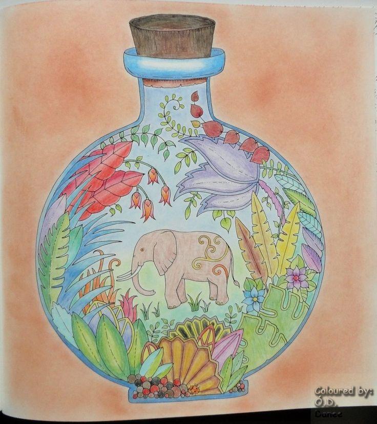 Mágikus Dzsungel - Elefánt az üvegben Készült: Maped Color' Peps és Marco Raffiné ceruzák Háttér: Colorino Artist Porpasztell Magical Jungle - Elephant in the bottle Coloured with Maped Color's Peps and Marco Raffiné pencils Background: Colorino Artist Soft Pastels