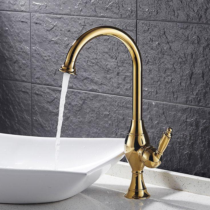 New Bathroom Basin Faucet Chrome Polished Brass Swivel Single Handle Kitchen Faucet / Bathroom Basin Mixer Tap Faucet 9062