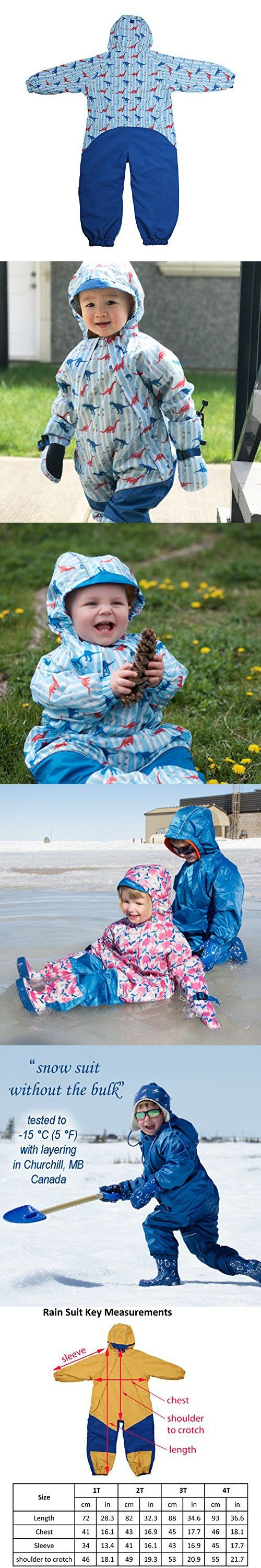Jan & Jul Kids Water-proof Fleece-lined Rain Suit One-Piece Hooded (Dino,1T)