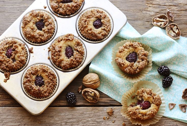 Blackberry Muffin with Walnut Crumble | Grain-Free. Uses almond & tapioca flours & 2 eggs.