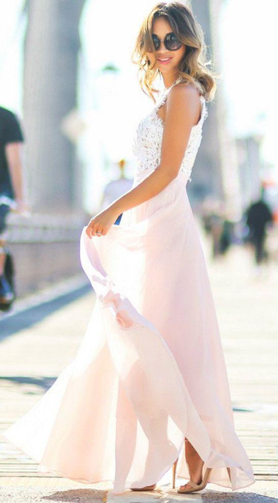 Sleeveless Lace Chiffon Evening Dress