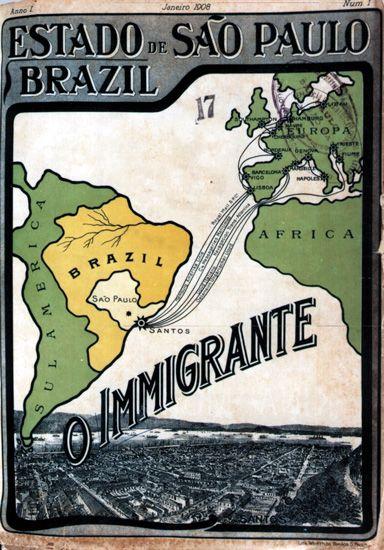 Capa da revista O Imigrante, editada pelo governo de São Paulo (SP) - 1908 - Memorial do Imigrante / Museu da Imigração