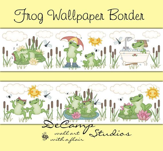 Frog Wallpaper Border Wall Decals for baby boy or girl nursery or children's froggy room decor. Frogs sleeping on the lilypad, dancing frogs, frog in the bathtub, and many other poses with dragonflies, flies, and stars #decampstudios