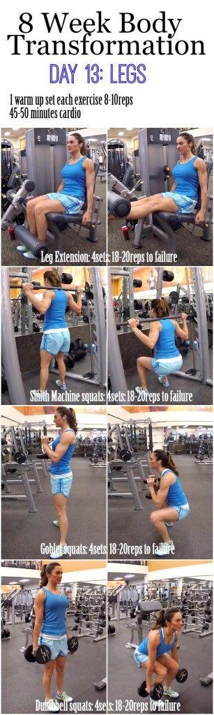 8 Week Body Transformation (Week 2, Day 13: Legs) 2 week diet challenge