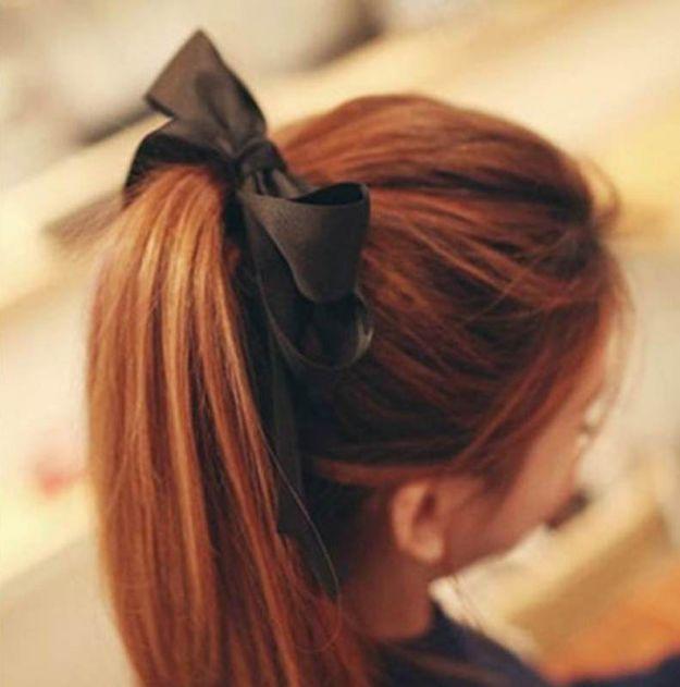 Прическа на последний звонок с бантами и ленточками ::: onelady.ru ::: #hair #hairs #hairstyle #hairstyles