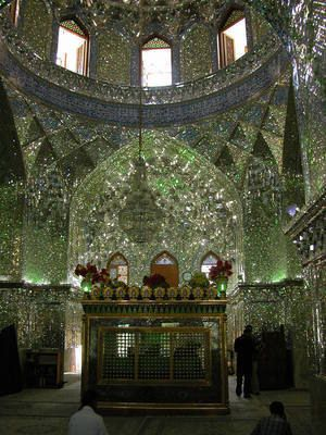 Shah Cheragh in Iran. Mirrors and glass shards cover every inch of this mosque…