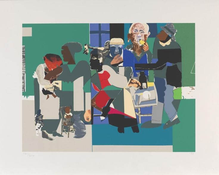 ROMARE BEARDEN  Follow This Artist Family Dinner, 1993 PRINT Hand-silkscreened in 30 colors.  27.20 in x 19.70 in 69.1 cm x 50.0 cm Edition of 200 Dated and numbered by printer. Select Framing Option No Frame PRICE:$750