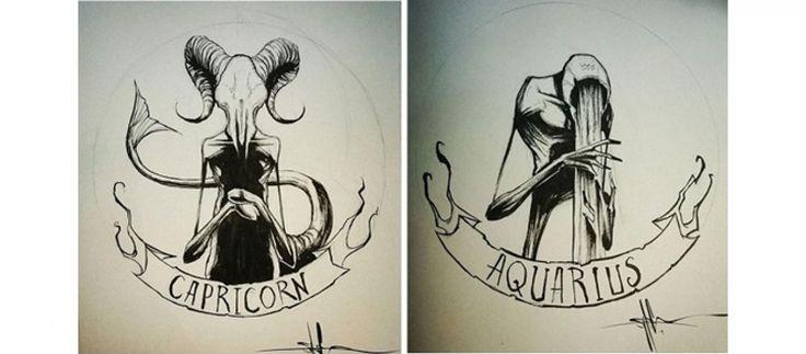O ilustrador Shawn Cross transformou os símbolos dos signos em criaturas muito macabras; confira.