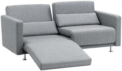 Melo sofa with reclining and sleeping function, the product is available in different fabrics. As shown, grey Sazza fabric 9284.
