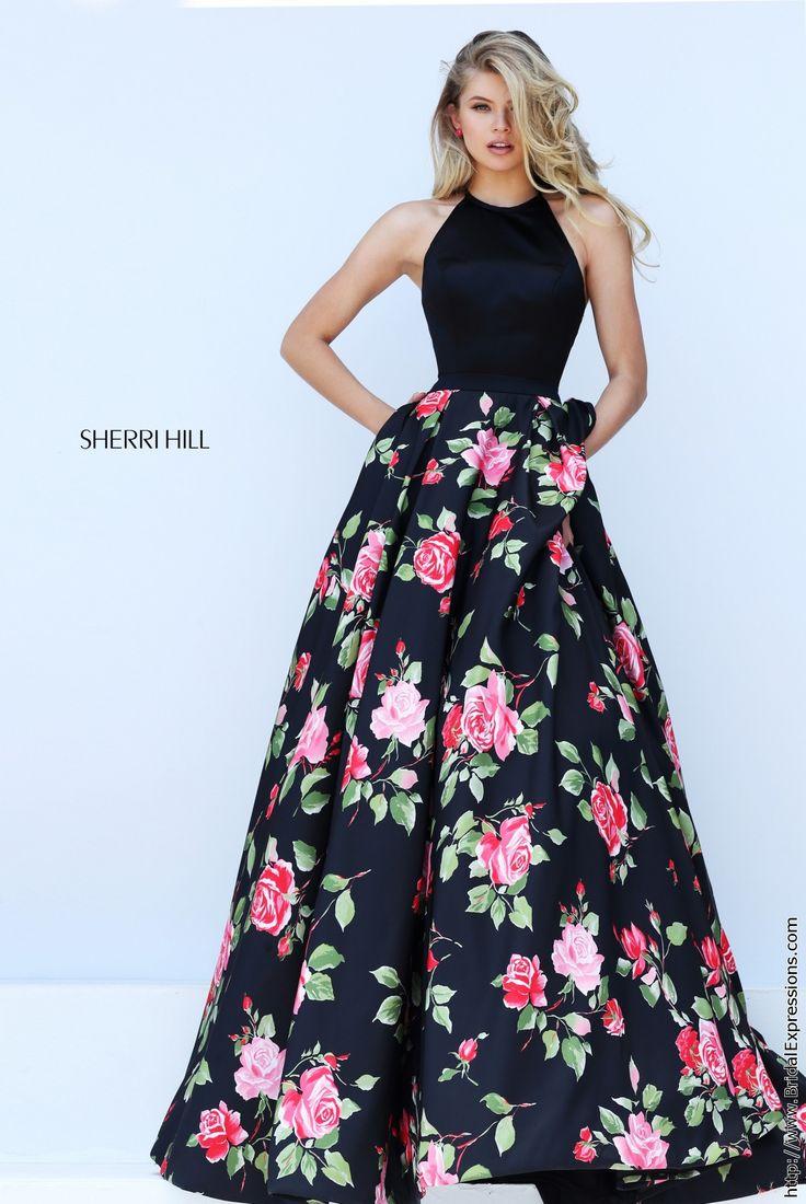 Sherri Hill 50333 Black Floral Print Halter Prom Dress