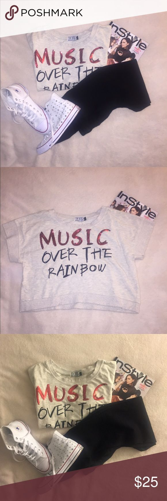Gray crop sweater Gray Cropped distressed 'Music over the Rainbow' sweater. Bought this at Lil Wayne's ex wife's boutique in New Orleans. Brand is POL. Worn once. No signs of wear. Great crop top. Zara for exposure. Zara Tops Crop Tops