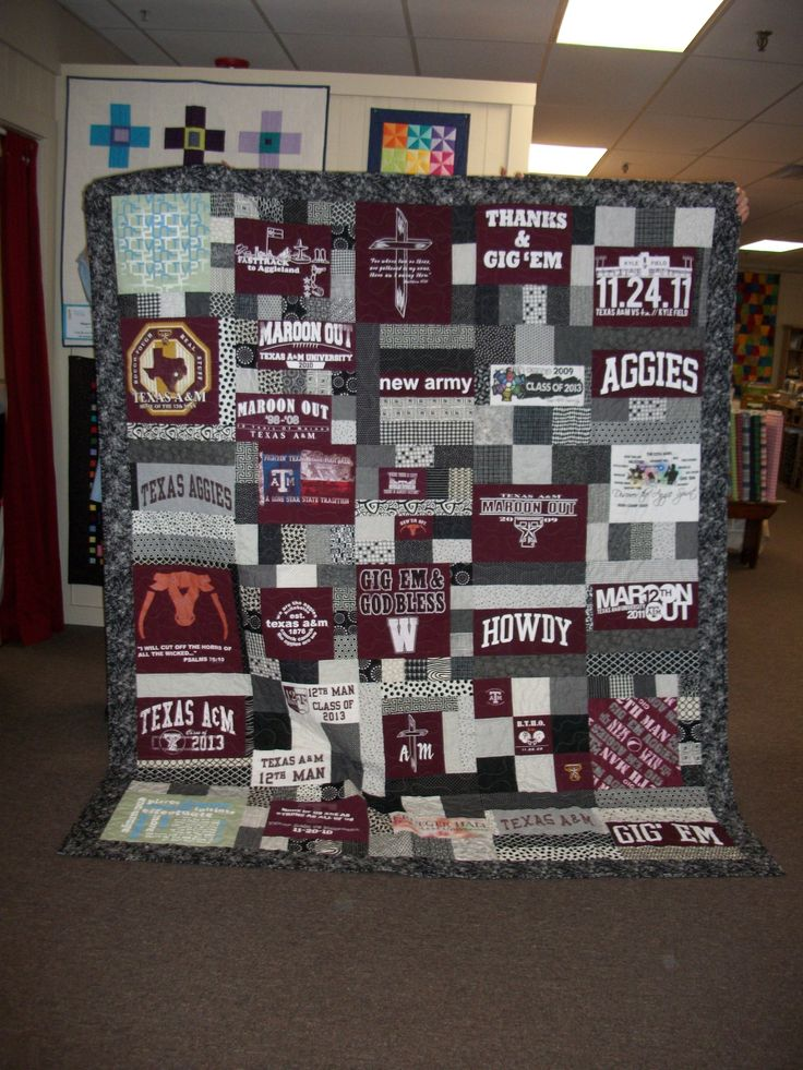 Another Aggie gets a quilt....his graduation gift from his mom.