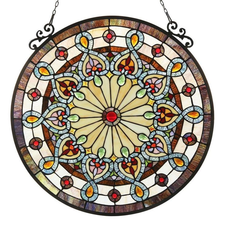 Chloe Tiffany-style Victorian Design Stained Glass Window Panel   Overstock.com Shopping - The Best Deals on Stained Glass Panels