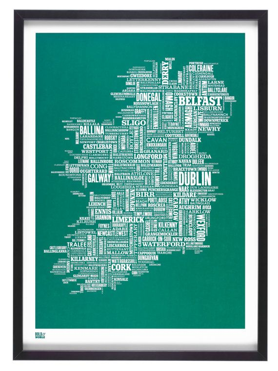 Ireland Type Map decorative screen print by boldandnoble on Etsy