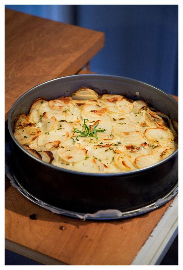 Potatisterrin med getost och rosmarin