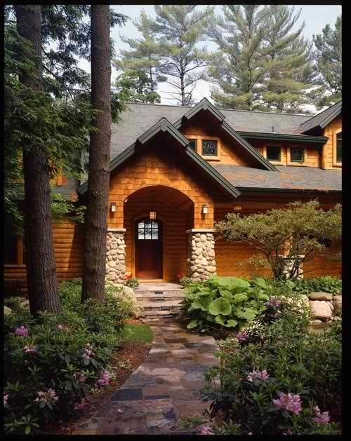 Log Cabin Vinyl Siding W Shaker Style Entrance And Rock