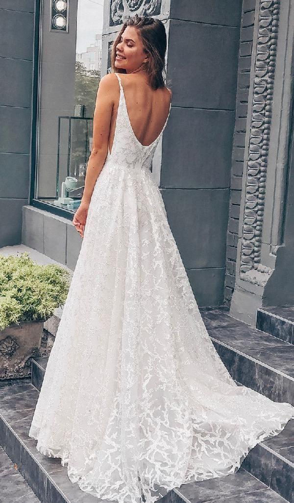 Princess White Langes Brautkleid mit Schleppe Lang…