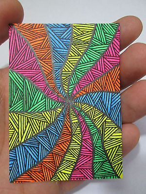 "ACEO Original ""Color Tunnel Zentangle"" Black Light Collectible Artist Card ATC"