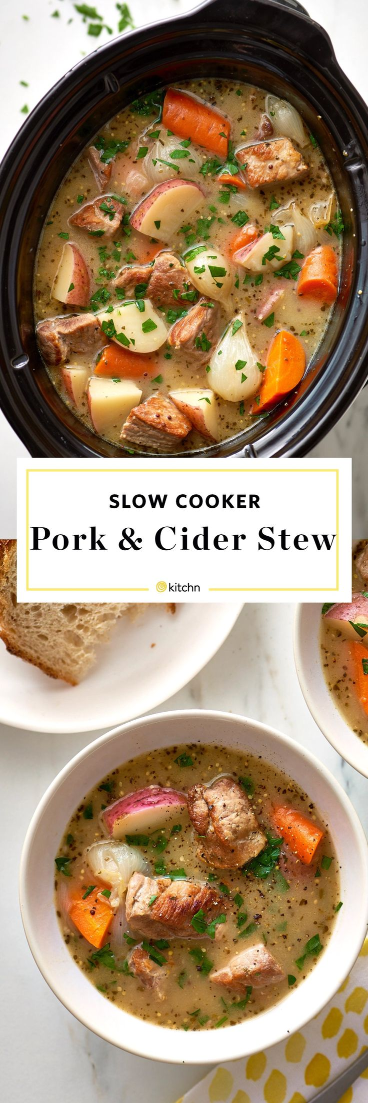 Slow Cooker Pork and Cider Stew Recipe. This cold weather comfort food soup is perfect if you're looking for ideas and recipes for winter and fall. Crock pots were basically made for this kind of recipe! You'll need to put the following in your crockpot: boneless pork shoulder, pearl onions, flour, chicken broth, sage, red potatoes, and apples.