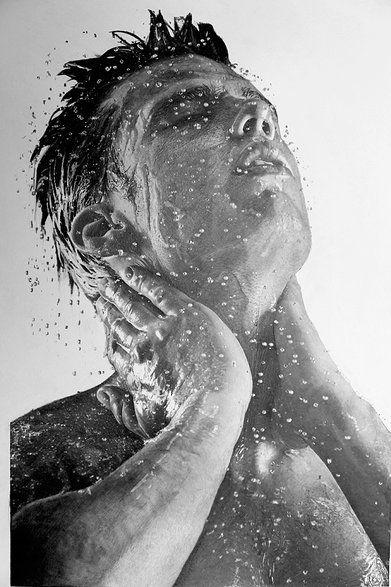 Shower, Pencil art portraits Of Paul Cadden Artist