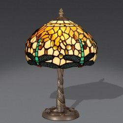 Lampada da Tavolo / Comodino Tiffany con Libellule Verde Acqua. Sfondo Giallo e Avorio.