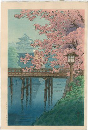 Ito Yuhan: Castle and Cherry Blossoms, 1930's