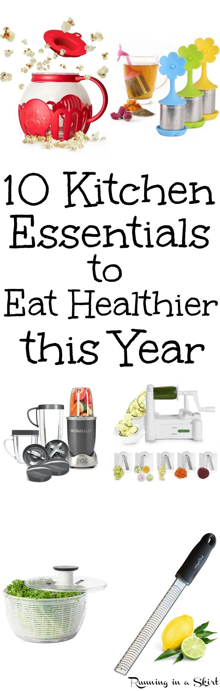 10 Healthy Kitchen Gadgets and Tools to Eat Healthier for Life.  These run ideas and products can make cooking easier and better for your health.  Great home tools for clean eating, cooking veggies, vegetable noodles for low carb diets and following recipe ideas. / Running in a Skirt