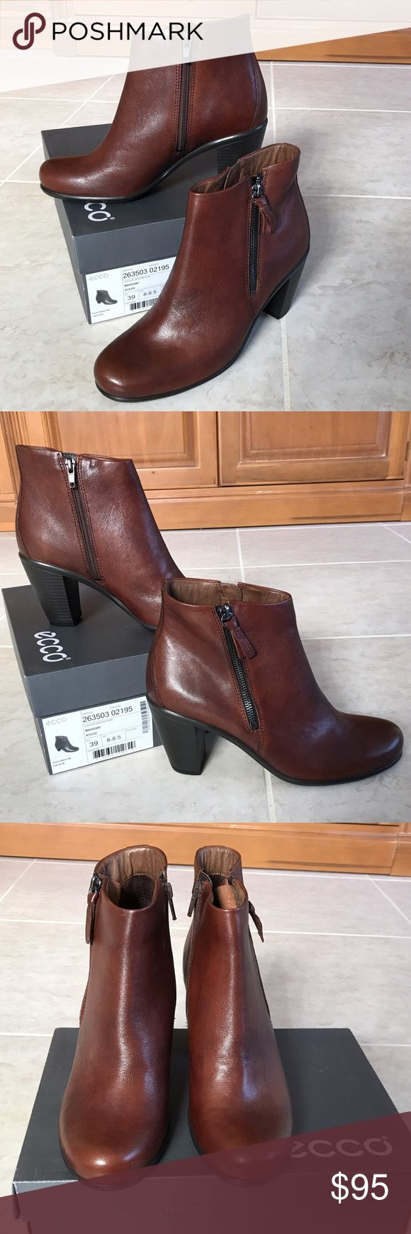 🎉NIB Ecco Mahogany Brown Leather Ankle Boots❤️ 🎉Brand new in box, Ecco super comfortable brown mahogany leather ankle boots. Heel measures a little over 3.5 inches. Size EU39 (or 8-8.5 according to the box). Rubber type heel sole construction for great traction! Double zippers for easy in and out! The leather smells good!!❤️ Ecco Shoes Ankle Boots & Booties